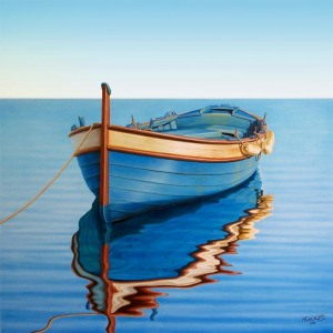 Waiting-for-The-Crew-original-gallery-artwork-painting-of-a-boat-on-the-sea-realism-art-by-artist-Horacio-Cardozo